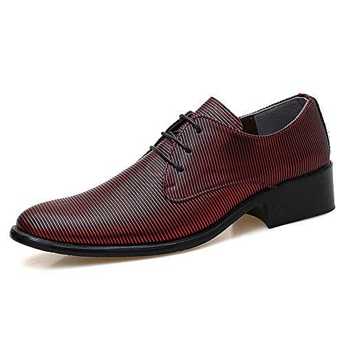 Leder Herrenmode Oxford Casual Persönlichkeit Streifen Textur Komfortable Low-top Formelle Schuhe Fahren Schuhe Schuhe (Color : Rot, Größe : 41 EU) - Braune Streifen Schneiden