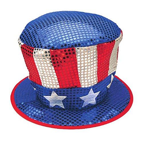Jacobson Hat Company Herren Rot Weiß und Blau Pailletten Top Hat mit Sternen (Jacobson Hat)