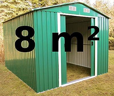 Gartenhaus Geräteschuppen 8m² aus verzinktem Stahlblech Metall grün von AS-S von AS-S auf Du und dein Garten