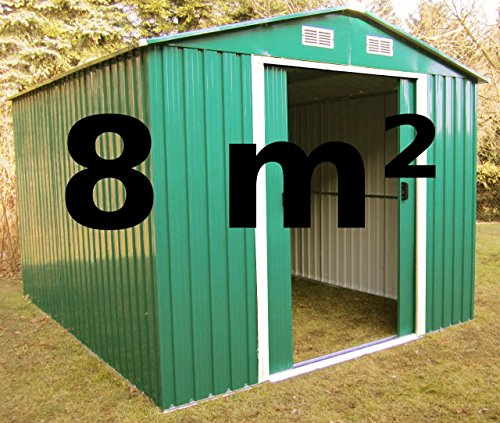 Gartenhaus Geräteschuppen 8m² aus verzinktem Stahlblech Metall grün von AS-S
