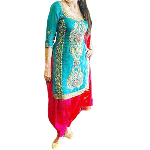 Reet Glamour Women 's Silk Cotton Unstitched Sky Blue Embroidered Punjabi Suit