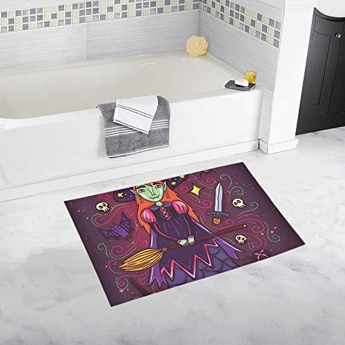 LMFshop Niedliche kleine Hexe lila Kleid benutzerdefinierte rutschfeste Badematte Teppich Bad Fußmatte Boden Teppich für Badezimmer 20 x 32 - Benutzerdefinierte Für Erwachsenen Hexe Kostüm