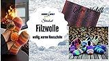 Filzwolle Strickset Hausschuhe Color 07, mit Hobby Welt Sprücheknopf und Anleitung