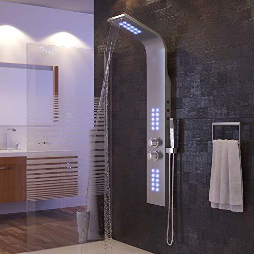Colonna doccia con illuminazione a led viola, controllo termostato, doccia a cascata e maniglia, getto per massaggio, acciaio inossidabile (136x22x45 cm, argento)