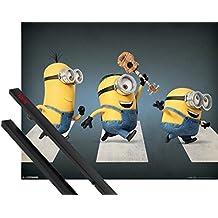 Póster + Soporte: Minions Póster Mini (50x40 cm) Stuart, Kevin Y Bob, Abbey Road Y 1 Lote De 2 Varillas Negras 1art1®