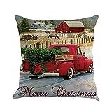 Lucky Mall Weihnachten Baumwolle Leinen Sofa Startseite Taille Kissenbezug