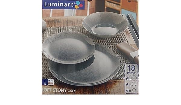 3778e715cb3196 Luminarc Service de table pour 6 personnes, 18 pièces, gris  Amazon.fr   Cuisine   Maison