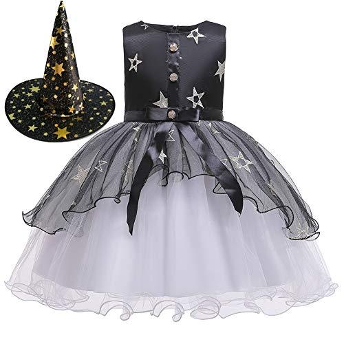 Schwarz Und Märchen Kostüm Hexe Lila - Fairy Baby Zauberin Halloween Kostüm Kleid für Mädchen Schwarz Ausgefallene Partyausstattung 3-12 Jahre alt Size 150(8-10 Jahre)