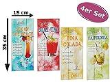 itsisa Wandbild Cocktail Rezepte H: 35 cm, 4er Set Holzbilder mit Cocktail Motiven - Coole Deko für die Küc