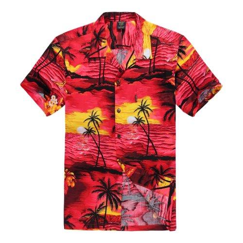 Hombres-Aloha-camisa-hawaiana-en-Puesta-de-sol-Rojo-4XL