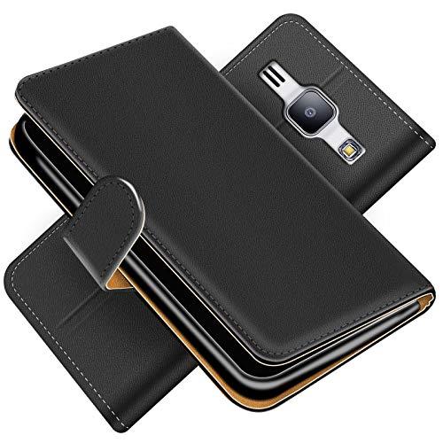 Conie Handytasche für Samsung Galaxy J1 2016 Cover Schutzhülle im Bookstyle aufklappbare Hülle aus PU Leder Farbe: Schwarz
