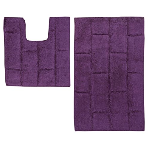just contempo 2 piece cotton bath and pedestal mat set purple - Purple Bathroom Accessories Uk