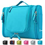 Heavy Duty Waterproof Hanging Toiletry Bag - Travel Cosmetic Makeup Bag for Women & Shaving Kit Organizer Bag for Men - Large Size: 26*11.5*21.5cm (Light Blue)