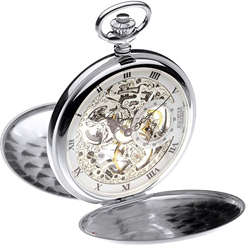 Sterling Silber Skeleton Taschen-Watch Full Hunter 17 Jeweled mechanische Bewegung -