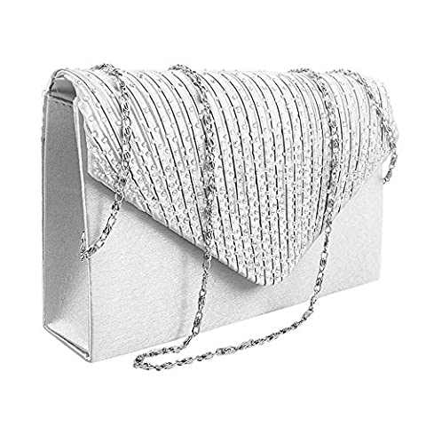 everso Womens Ladies Diamante Evening Clutch Bag Satin Envelope Handbag Bridal Wedding Bag White
