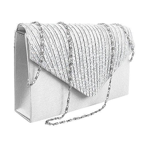 Damen Clutch Abendtasche Handtasche Umhaengetasche Satin Strass Party Hochzeit (Weiß)