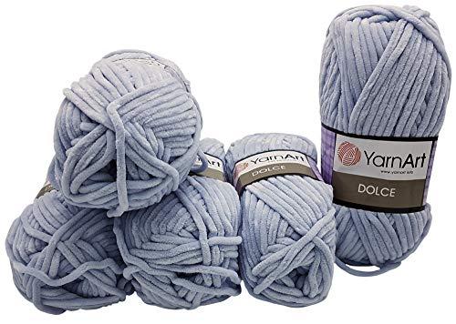 YarnArt Dolce 5 x 100 Gramm Strickwolle, Babywolle, 500 Gramm Wolle Super Bulky (hellgrau 776) - Himalaya-garn