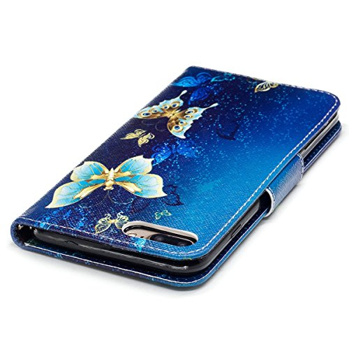 "MOONCASE iPhone 7 Plus Coque, [Colorful Painting] Durable TPU avec Béquille Etui Case Protection PU Cuir Card Holster Housse pour iPhone 7 Plus 5.5"" Bling Butterfly"