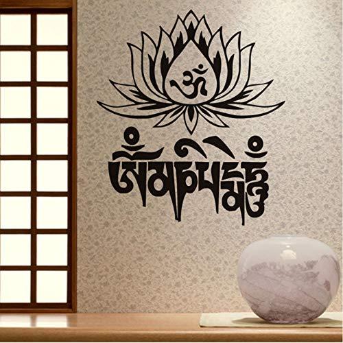 Religiöse text Lotus vinyl wandtattoo zitat wohnkultur diy kunst tapete abnehmbare wandaufkleber 57x65 cm