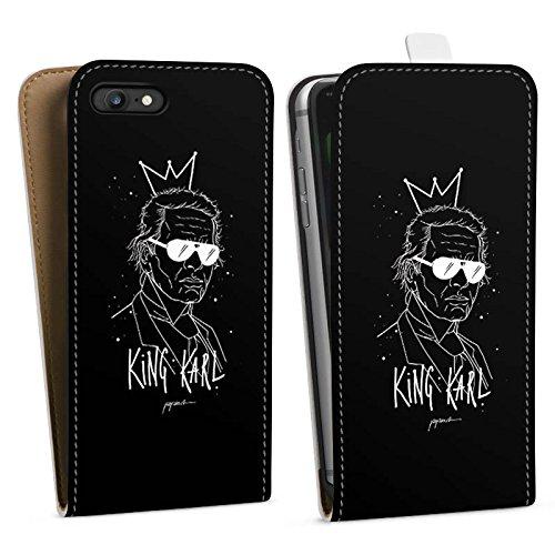 Apple iPhone 6s Plus Hülle Case Handyhülle Karl Lagerfeld Kunst Mode Downflip Tasche weiß