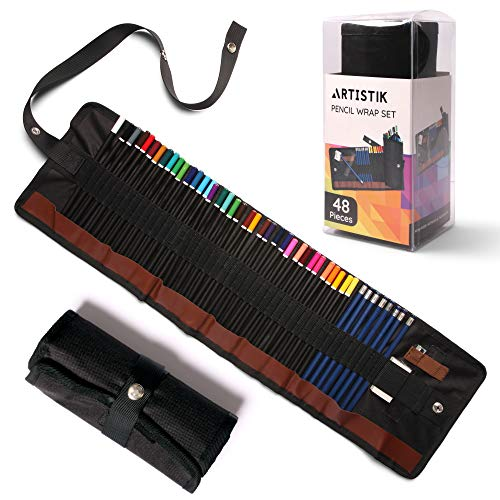 Coloured Pencil Set - (47 Pieces) Vivid 3.5 mm Artist Grade Drawing & Sketching Colored Pencils for Adults, Ideal for Colouring Books, Watercolour, Professional Sketching Pencils and Travel Wrap Case