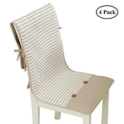 Esszimmer Stuhlhussen Baumwolle gestreiften Stuhl Sitz Protector Kissen Pad rutschfeste Stuhl Schutzhülle dekorative Universal für alle Standard-Stühle (4er-Set) -