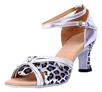 Honeystore Damen's Riemen Knoten-Leopard-Druck Tanzschuhe Gold 38 EU WpM5WVN