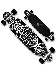 Longboard Skateboard Complet en bois 13Roulements ABEC 9plis Pointe Double Deck en bois d'érable
