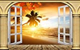 Wapel Blackout Vorhänge Römisches Weißes Fenster Sunset Beach Sea View Drucken 3D Foto Vorhang Für Wohnzimmer Schlafzimmer Fenster Balkon H245 * W280cm