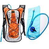 Juboury Hadration Pack - Trinkrucksack inklusive 2L Trinkblase zum Laufen, Wandern, Radfahren und für alle anderen Outdoor-Sportarten bei der Sie Flüssigkeit benötigen (Orange)