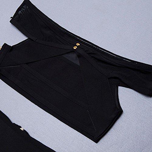 HLBandage Two Piece Set Off Shoulder Rayon Midi Bandage Dress Noir