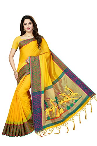 Rani Saahiba Art Dupion Silk Applique Embroidered Saree ( PDM3_Yellow )