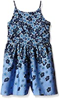 Yumi Girl's Fading Floral Playsuit (Denim) Floral Skirt, Blue (Denim), 7 Years (Manufacturer Size:7/8 Years)