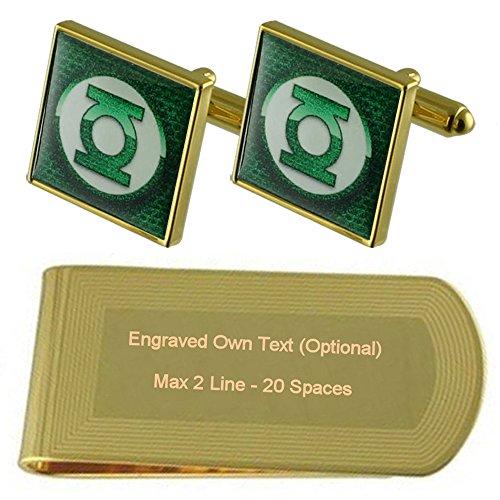 Select Gifts Green Lantern Gold-Manschettenknöpfe Geldscheinklammer Gravur Geschenkset