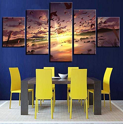 druckten dekor Zimmer Mauer 5 stück Tier vögel und Berg Sonnenuntergang Landschaft gemälde Poster modulare leinwand Bilder ()