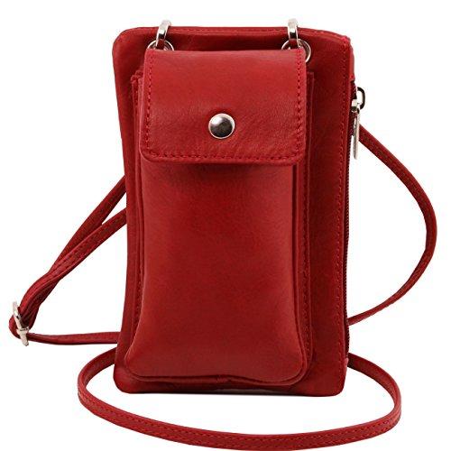 Tuscany Leather TL Bag - Tracollina Portacellulare in pelle morbida Nero Borse uomo in pelle Rosso