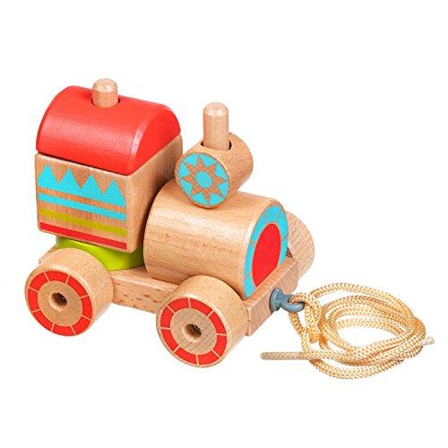 Lucy&Leo Train Sortier, Stapel & Steckspielzeug Schieben und Ziehen Lernspielzeug aus Holz Lernspielzeug aus Holz für Kleinkinder für Baby Boy und Baby Girl