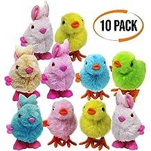 THE TWIDDLERS 10 Juguetes Suaves de Cuerda Rápida - Pollitos y Conejos de Pascua - 4