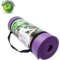 Qubabobo Tapis de yoga/Pilates Épais de 15mm en Mousse NBR(183*61*1.5cm), tapis de fitness antidérapant et multifunctional +1* sac de yoga gratuit +1*sangle de yoga
