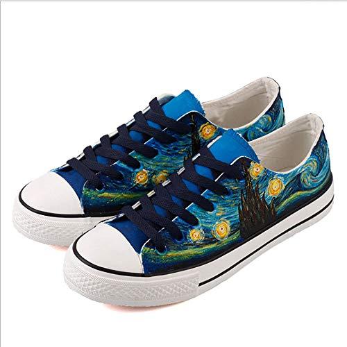 Star Canvas Shoes, Scarpe da Passeggio Confortevoli da Donna dipinte a Mano Scarpe Casual Leggere Antiscivolo,D502C,38