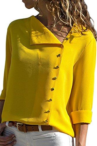 Walant Bluse Damen, Langarm Chiffon V- Ausschnitt Oberteile Hemd Freizeit Tunika Ärmel Verstellbar Tops, Gelb, S