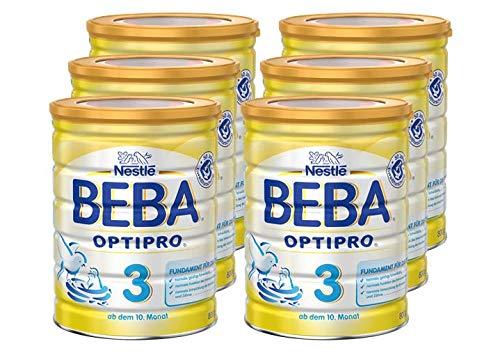 Nestlé BEBA OPTIPRO 3, Folgemilch ab dem 10. Monat, Baby-Nahrung als Pulver, im Anschluss an das Stillen, bei angemessener Beikost, 6er Pack (6 x 800 g)