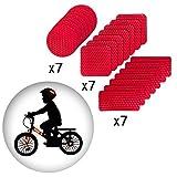 Muchkey Reflexstreifen Selbstklebende Reflektierende Aufkleber Wasserdicht für Fahrrad Motorrad Kinderwagen Rot 21stücke