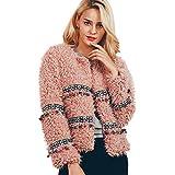 VEMOW Winter Heißer Elegante Frauen Damen Warme Künstliche Wollmantel Dichroic Jacke Winter Casual Täglichen Party Freizeit Parka Oberbekleidung(X3-Rosa, EU-48/CN-3XL)