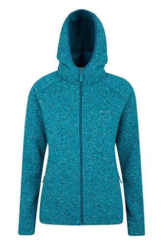 Mountain Warehouse Nevis Damen Kapuzenpullover Fleece Hoodie Kapuzenjacke Reißverschluss warm bequem weich Grün DE 44 (EU 46) (Abdeckung Hoodie Pullover)
