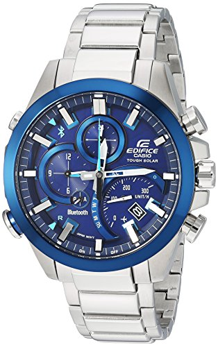 Casio Men\'s \'Edifice Solar Connected\' Quartz Stainless Steel Casual Watch, Color:Silver-Toned (Model: EQB-501DB-2ACF)