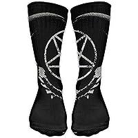 hat pillow Women's Men's Classics Socks Gothic Occult Satan Penta Symbol Skull Athletic Stockings 60 cm Long Sock One Size