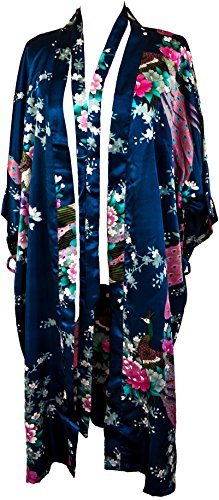 CCCollections kimono night dress 16 colours dressing gown robe lingerie night wear dress bridesmaid hen night blu navy (navy blue)