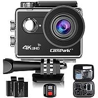Action Cam,Campark ACT73R 4k Sports Camera WIFI Ultra Full HD Helmkamera Wasserdichte 170° Weitwinkel mit 2 Batterien und kostenlose Accessoires