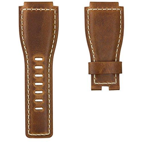 Uhrenarmband Geckota® Echtes Leder für Bell & Ross Uhren Vintage Braun 24mm